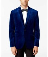 Bar III Mens Slim-Fit Cobalt Velvet S Cobalt Blue 38R BF6SP23045 - $118.70