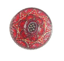 """Beautiful Red Hand Painted w/Gold Lacy Czech Glass Shank Button  1-1/4"""" - $15.83"""