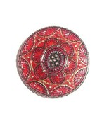 "Beautiful Red Hand Painted w/Gold Lacy Czech Glass Shank Button  1-1/4"" - $15.83"
