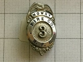Obsolete Mowry Fire Company N. F. D. Newark Fire Department Badge #3 - $50.00