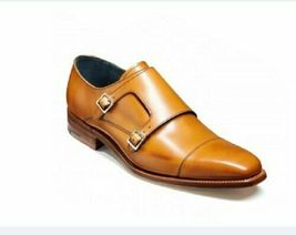 Handmade Men's Two Tone Tan Leather Double Monk Strap Dress/Formal Leather Shoes image 1