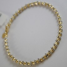 MASSIVE 18K YELLOW & WHITE GOLD RIGID BRACELET FACETED BALLS MADE IN ITALY
