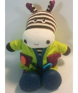 B Toys Plush Giggling Zebra Learn to Dress Stuffed Animal Doll Toy Jacke... - $19.39