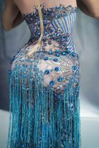 Womens Blue Sleeveless Tassel Sequin Dress Blue Sexy Jazz Singer Dancer Stage Co image 4
