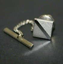 Vintage Swank Silver Colored Square Modern Inspired Tie Tack Men's Busin... - £7.08 GBP
