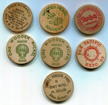 (7) Wooden Nickels - Sands Hotel Casino - Sambo's - Shell - Pan Pacific ... - $8.90