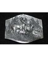 Vintage c1989 Siskiyou Buckle Co, Dear Belt Buckle (Buck, Doe & Fawn), 3... - $9.99