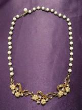 Vintage White Beaded Silver & Gold Tone Rhinestone Ribbon & Flower Necklace - $29.70