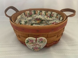 1995 Longaberger Mothers Day Basket of Love Leather Handles with Liner & Tie-on - $18.69