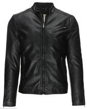 Men's Black Leather Jacket Slim fit Biker Motorcycle Jacket - HD 112 - $69.29+