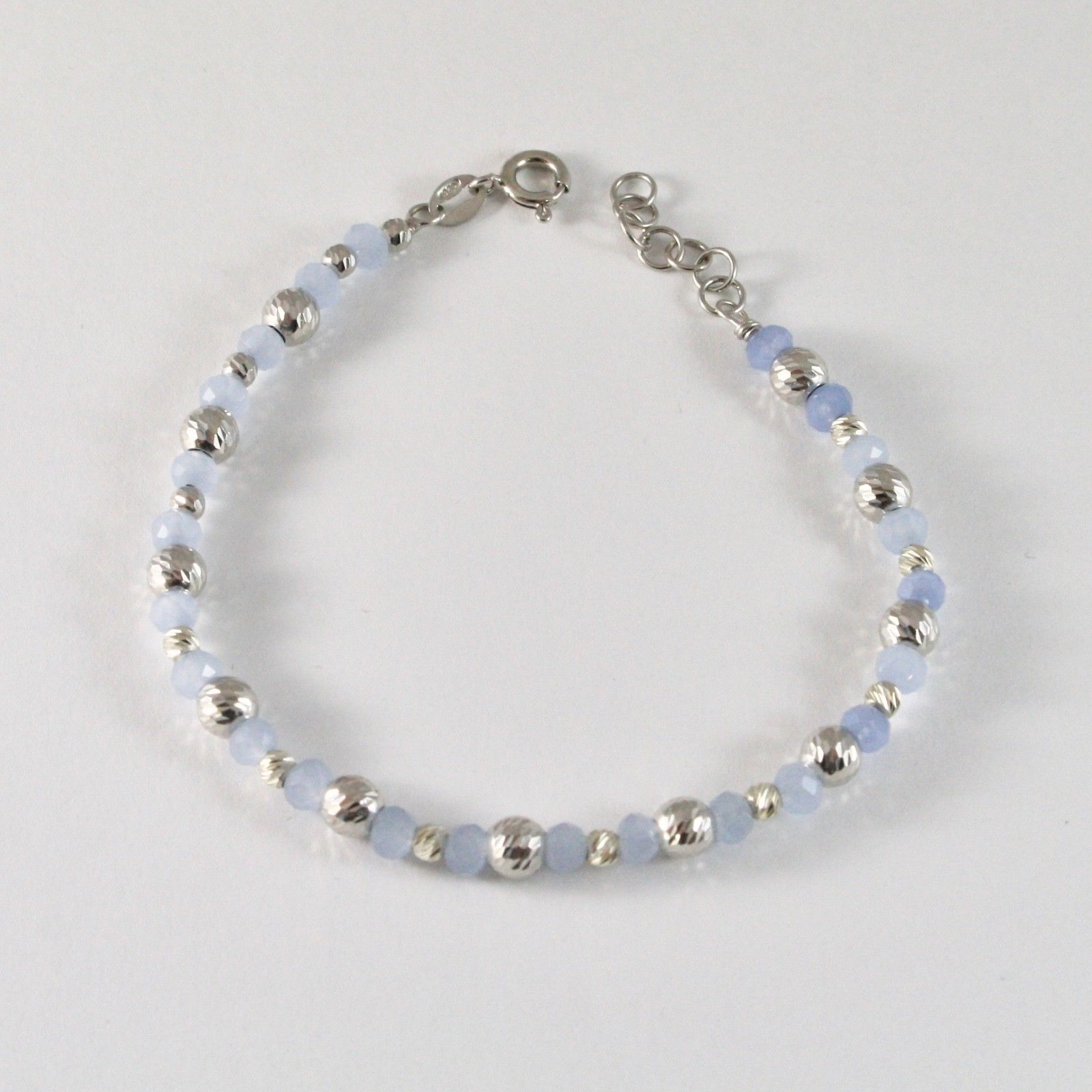 SILVER 925 BRACELET RHODIUM WITH BEADS OF SILVER FACETED AND AGATE BLUE