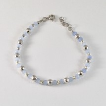 SILVER 925 BRACELET RHODIUM WITH BEADS OF SILVER FACETED AND AGATE BLUE - $51.47