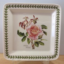 Portmeirion Botanic Roses Square Dinner Plate WARM WISHES Floral Green Leaf Trim - $28.04