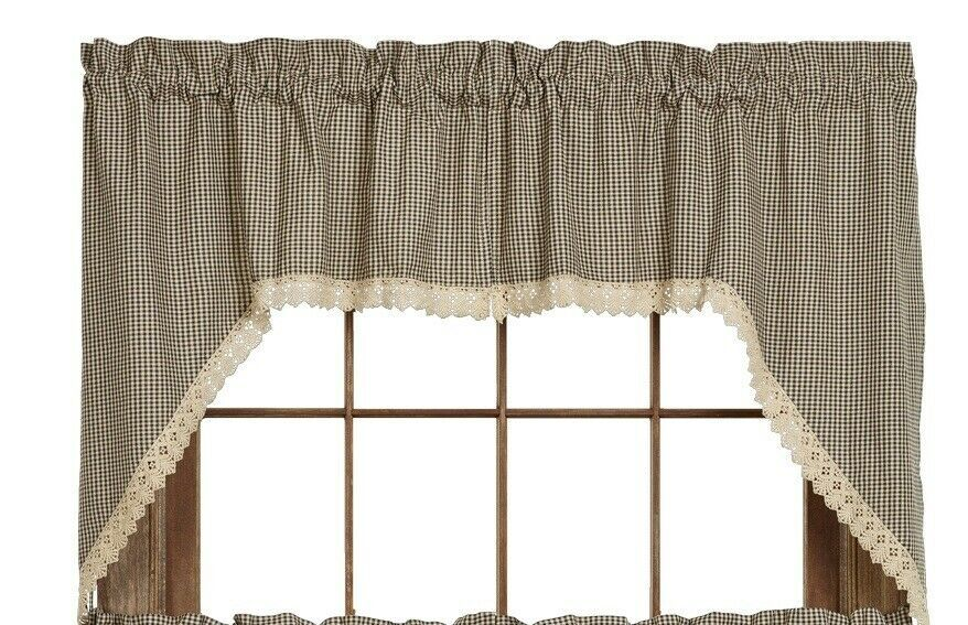 Primary image for Olivia's Heartland country shabby chic Ava Black plaid Swag curtains w Lace Trim