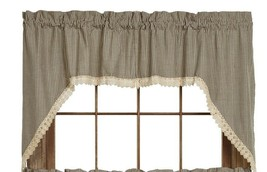 Olivia's Heartland country shabby chic Ava Black plaid Swag curtains w Lace Trim - $42.95