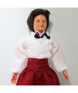Dressed Victorian Lady Doll 1152 Red Skirt Caco Flexible Dollhouse Minia... - $39.20