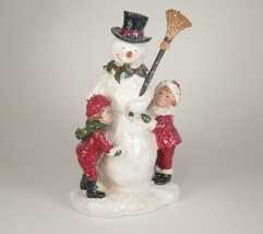 "Vintage Glittered Snowman with Children Winter Holiday Decor 8.5"" Tall - $28.66"