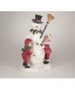 """Vintage Glittered Snowman with Children Winter Holiday Decor 8.5"""" Tall - $28.66"""