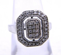 HN .925 Open Work Sterling Silver Pave Diamond Ring Size 6 - $84.15