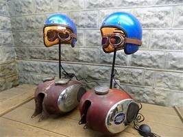 Pair Motorcycle Part Lamps, Repurposed Bike Parts Lamp, Steampunk Lamps - €555,14 EUR