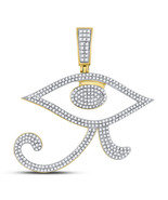 10kt Yellow Gold Mens Round Diamond Eye of Ra Egyptian Charm Pendant 1.0... - £799.97 GBP