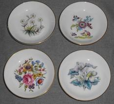 Set (4) Royal Worcester BONE CHINA COASTERS/SAUCE BOWLS Floral Patterns ... - $15.83