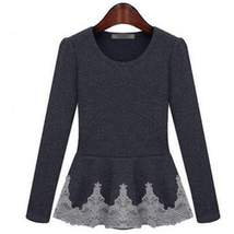 Casual Long Sleeve Lace Frill Women Top - $17.96