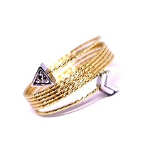 18K ROSE WHITE GOLD MAGICWIRE MULTI WIRES RING, ELASTIC SNAKE, ARROW, TOPAZ image 2