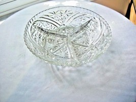 Anchor Hocking Clear Glass 3 Part Relish Bowl c1950's Stars & Bars - $9.90