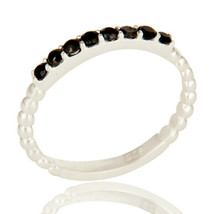 Black Onyx Beads Set Gemstone 925 Sterling Silver Cluster Rope Ring Jewelry - $13.13