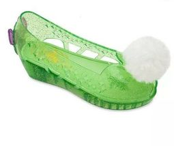 Disney Store Deluxe Tinkerbell Slip In Glitter Jelly Wedge Shoes Pom Pom Sz 2/3 image 3