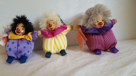 3 CUTE BELLY WHOPPERS COLLECTIBLE HAPPY CLOWN ORNAMENTS PLUSH PORCELAIN ... - $9.89