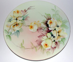 Ester Miler Hand Painted Signed Limoges Porcelain Plate T&V Yellow Roses - $25.00
