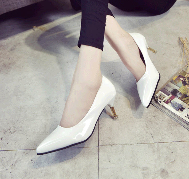 Primary image for PP433 candy color pump w gold heels, US Size Size 4 to 9, white