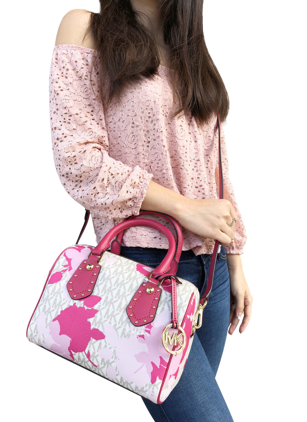798d28e72318 S l1600. S l1600. Previous. NWT Michael Kors Aria Small Top Zip Satchel  Crossbody Vanilla MK Pink Floral