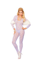 Long Sleeve Lace Bodystocking w/Open Crotch Plus or One Size Adult Woman  - $15.98