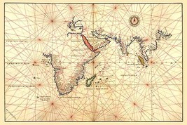 Portolan Map of Africa, the Indian Ocean and the Indian Subcontinent by Battista - $19.99+