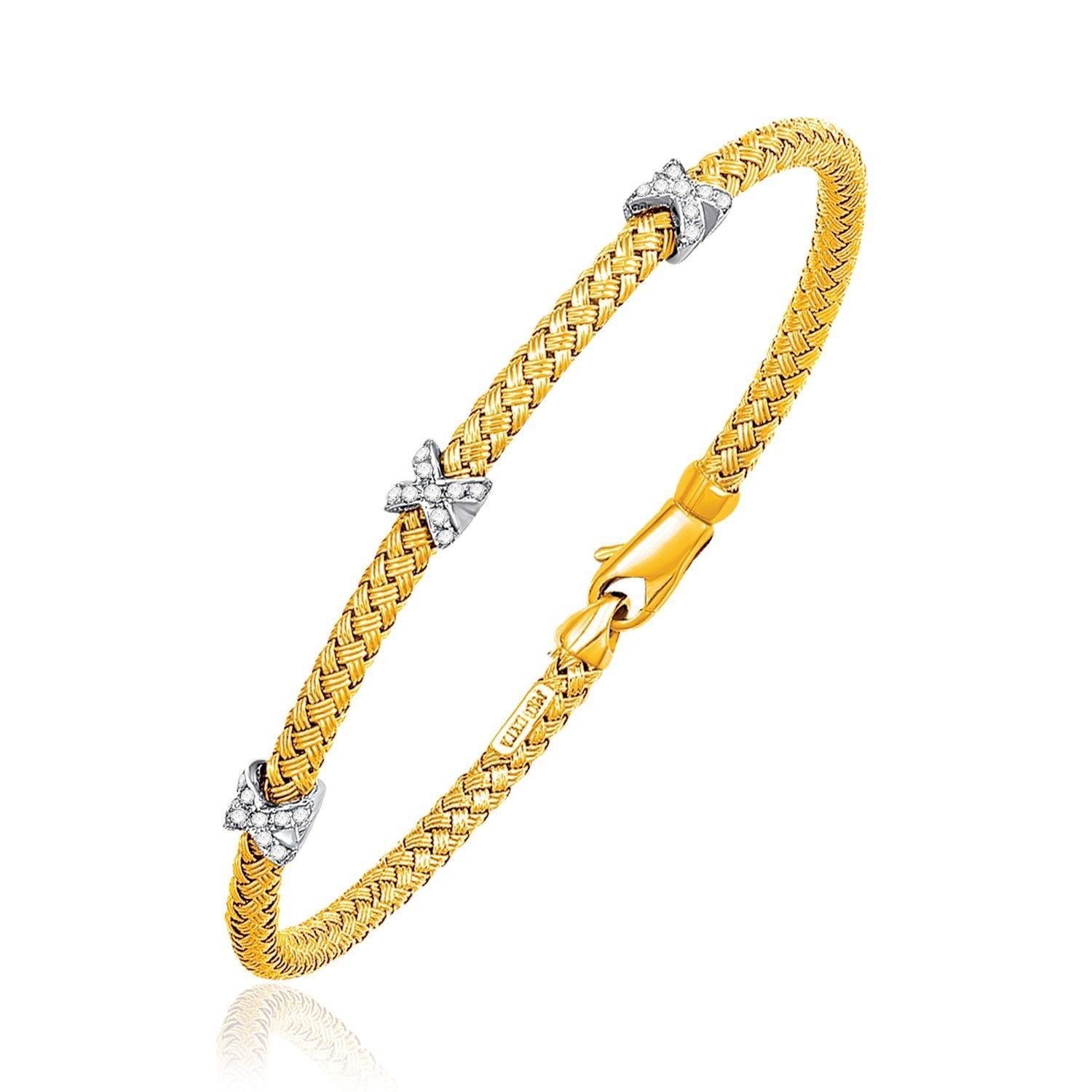 Womens Basket Weave Bangle with Cross Diamond Accents in 14k Yellow Gold (4.0mm)
