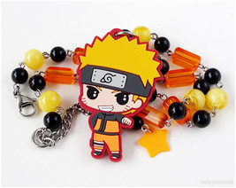 Naruto Necklace, Beaded Chain, Black, Orange, Yellow, Anime Necklace, An... - $29.00