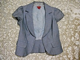 Guess Jeans Size s/p Gray Pin Stripe Cap Sleeve  Blazer Jacket Hook Eye ... - $15.64