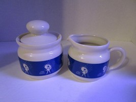 Vintage Morton Salt When It Rains It Pours Sugar & Creamer Ceramic Set F... - $13.54