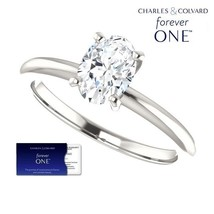 1.00 Carat Oval Forever One Solitaire Ring (with Charles & Colvard warra... - $499.00