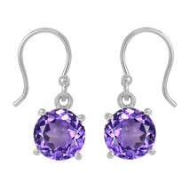 9 MM Round Cut Amethyst Gemstone 925 Sterling Silver Hook Earring Women ... - $20.66