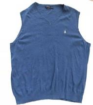 Ralph Lauren Polo Blue V-Neck Sweater Vest XLT Tall XL Pima Cotton Men - $29.65
