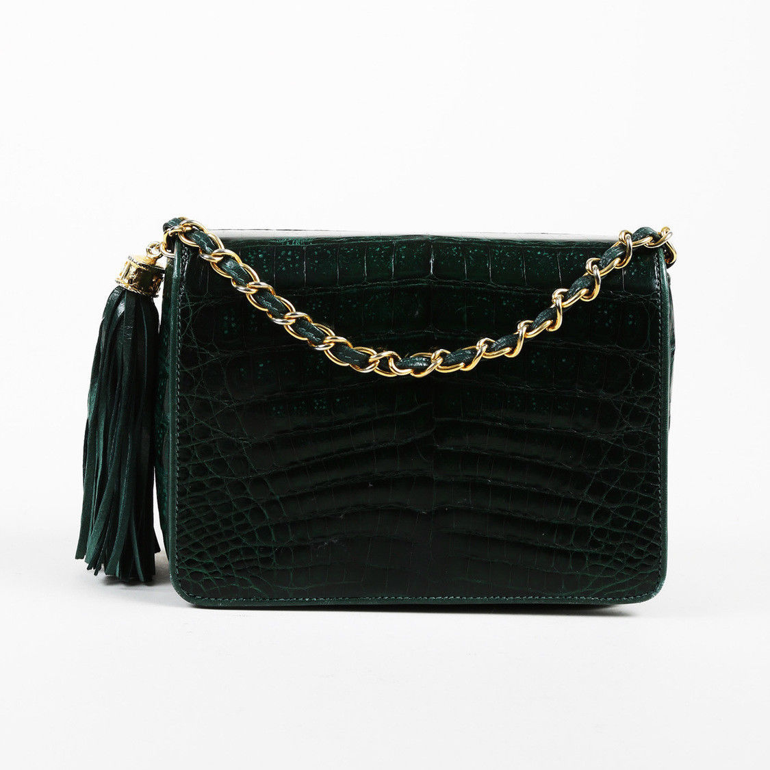 92a385ecccdcca VINTAGE Chanel 1986-1988 Green Crocodile Skin & Leather Tasseled Flap Bag -  $5,510.00