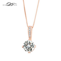 DOUBLE FAIR OL STYLE CUBIC ZIRCONIA CHAIN NECKLACES & PENDANTS ROSE GOLD... - $5.15