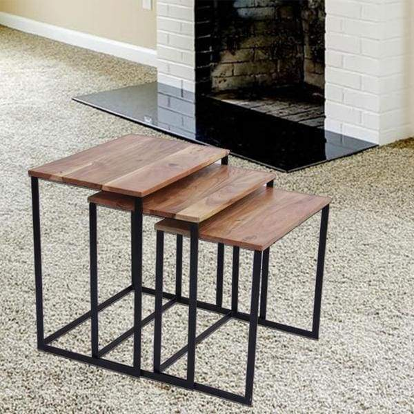 Industrial Style Wooden Nesting Coffee End Tables- Set Of
