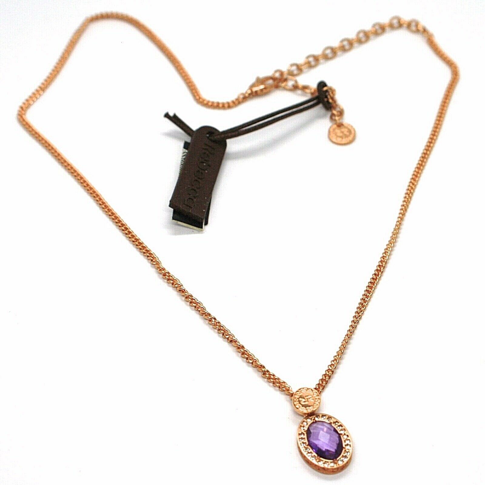 REBECCA BRONZE ROSE NECKLACE, GROUMETTE CHAIN, PURPLE CRYSTAL OVAL, B14KRA23
