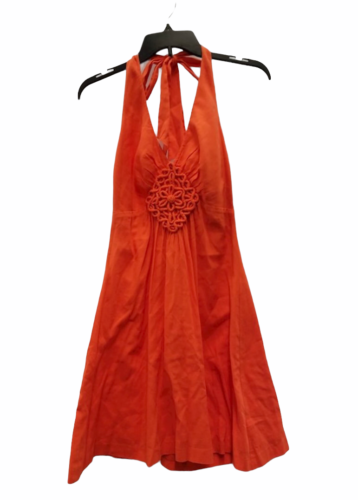 Women Trina Turk Orange Halter Summer Cotton Linen Dress Small