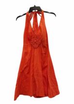 Women Trina Turk Orange Halter Summer Cotton Linen Dress Small image 1